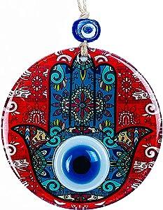 BCS Amazing Hamsa Hand Evil Eye Decor Home Wall Hanging Glass Beads Red Handmade Turkish Nazar Amulet 4.7