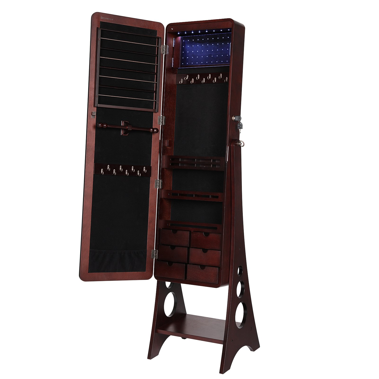SONGMICS 8 LEDs Jewelry Cabinet Armoire with Beveled Edge Mirror, Gorgeous Jewelry Organizer Large Capacity Brown Patented UJJC89K by SONGMICS (Image #9)