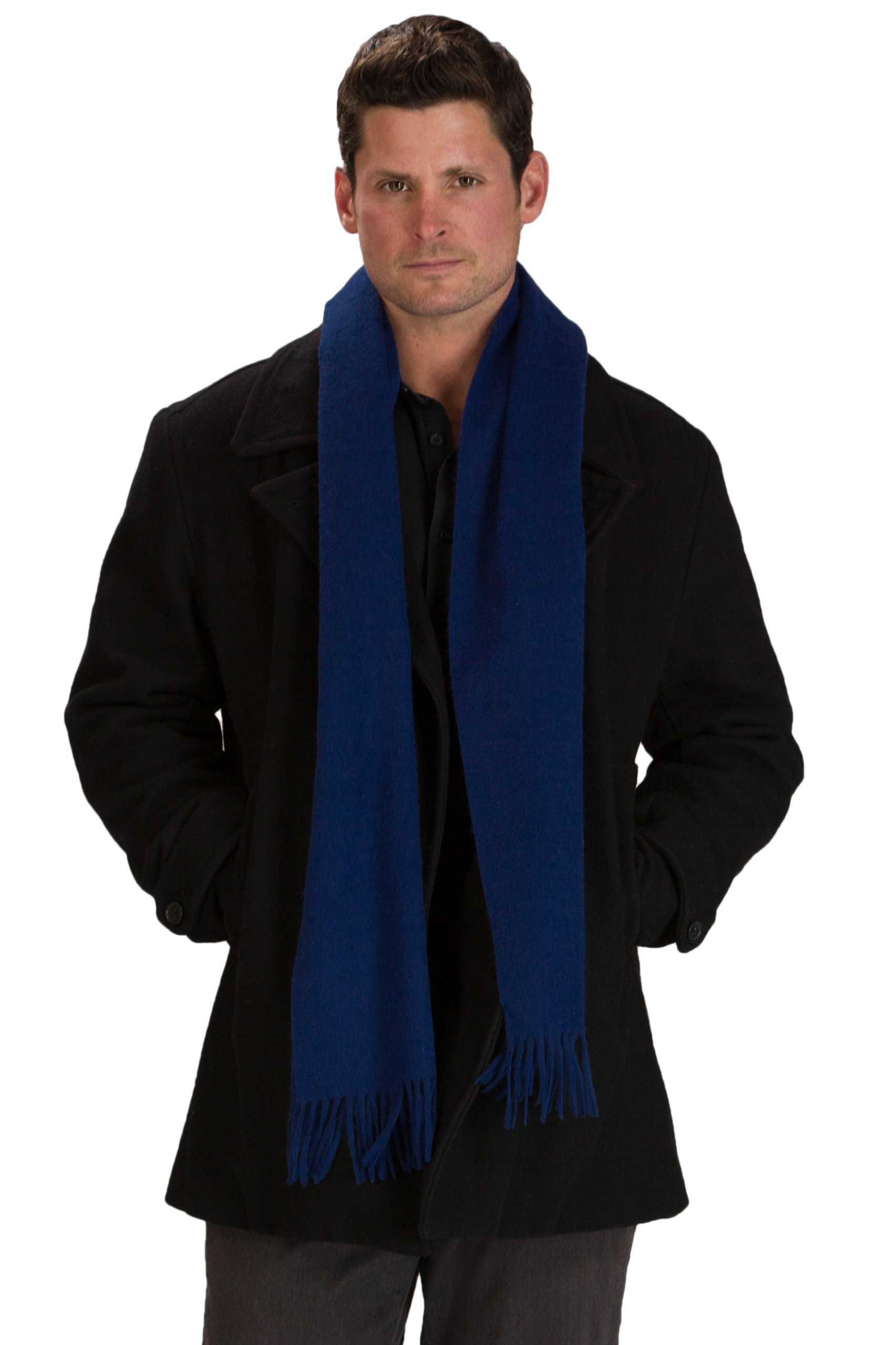 Fishers Finery Men's 100% Pure Cashmere Scarf; Luxury Christmas Gift (Navy)
