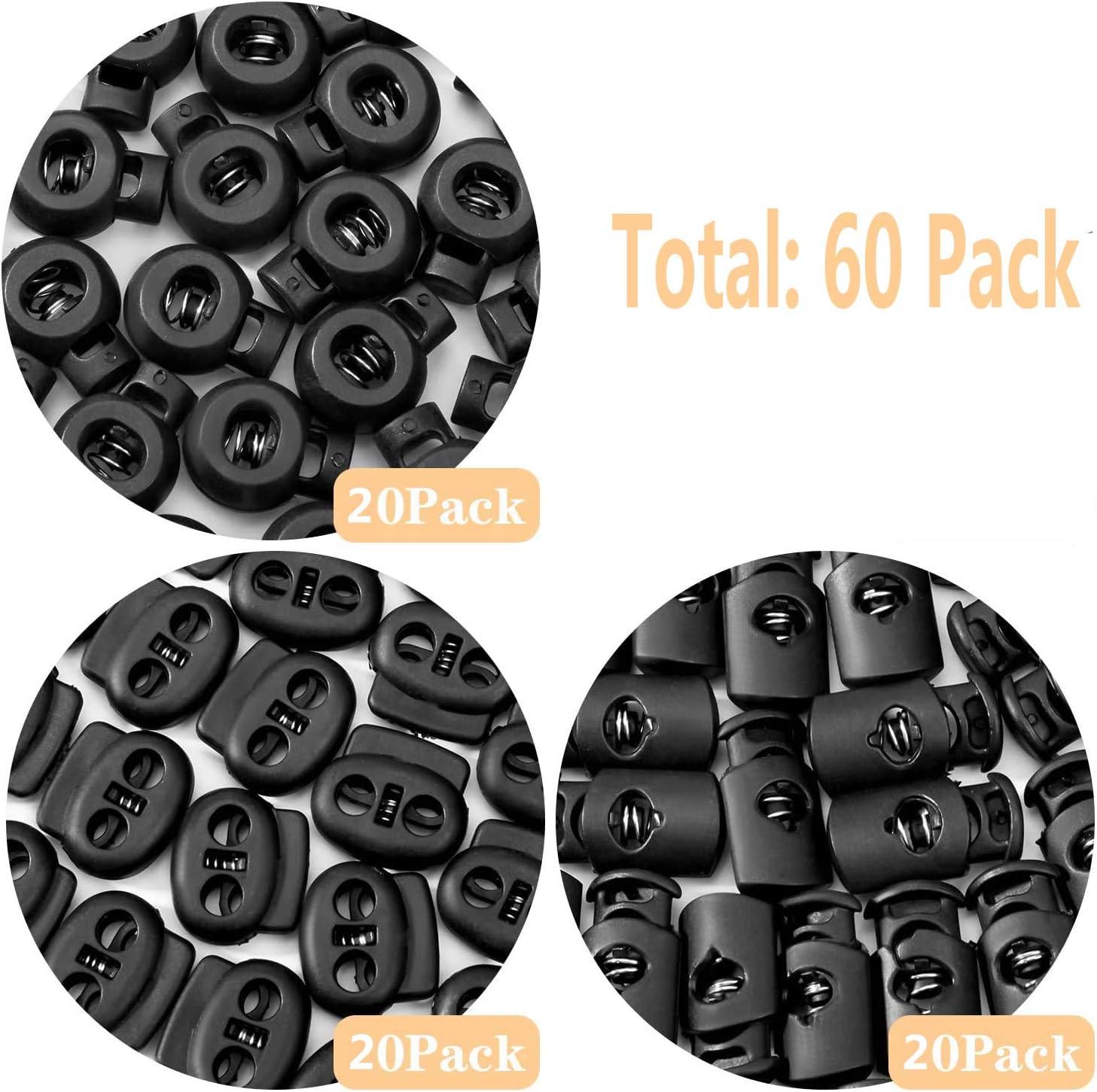 3 Models 60 Pcs Plastic Cord Lock End Toggle Spring Stopper Fastener Slider Toggles End