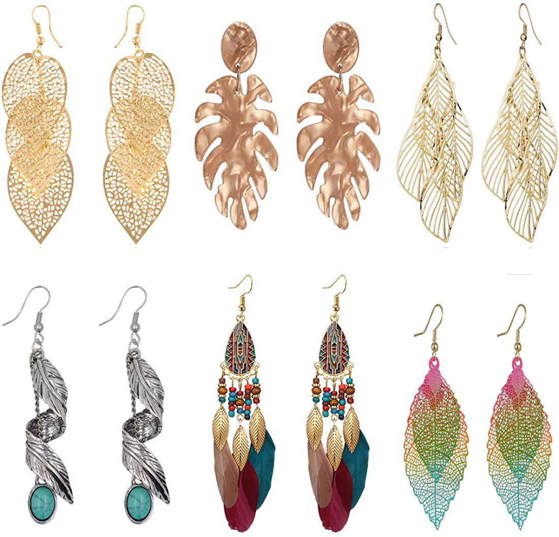 Peony.T 6 Pack /1pc Bohemia Leaves Earrings Tribal Vintage Dangle Earrings With Turquoise Bead Inlay for Women GirlsNickel Free