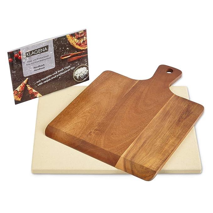 KLAGENA AS-626 Juego de Piedra para Pizza para Horno y Parrilla, Incl. Piedra para Pizza y Pala para Pizza en Madera de Acacia, Juego de Ladrillos de ...