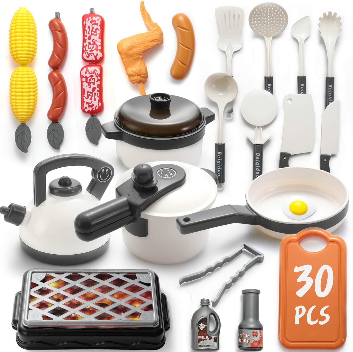 WADILE 30PCS Kitchen Play Toy with Barbecue Cookware Toy Set Pressure Cooker and Electronic Induction Stovetop, Barbecue Cookware, Toy Tableware, Gifts for Girls and Boys