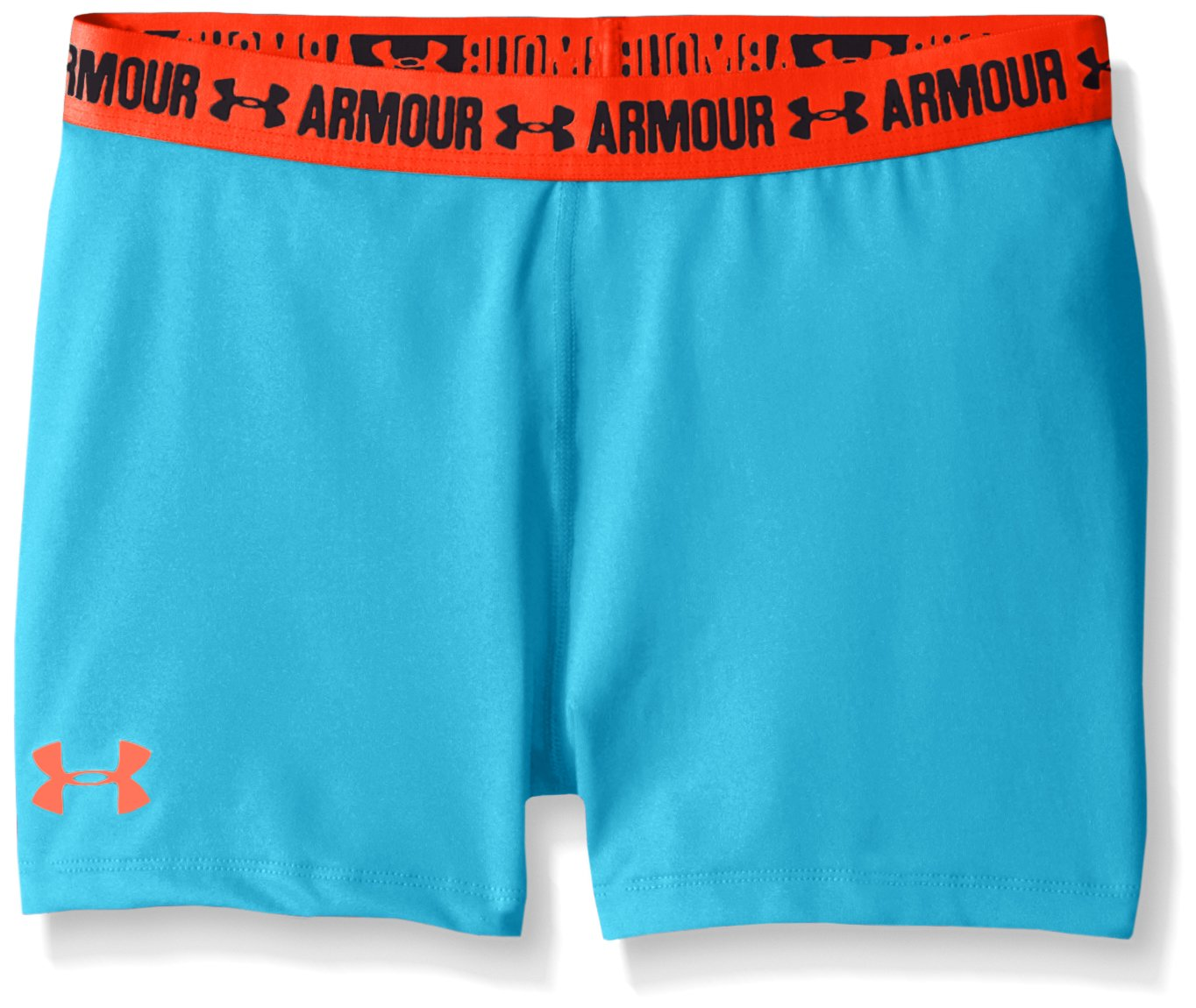 Under Armour Girls' HeatGear Armour 3'' Shorty, Meridian Blue /After Burn, Youth X-Large by Under Armour