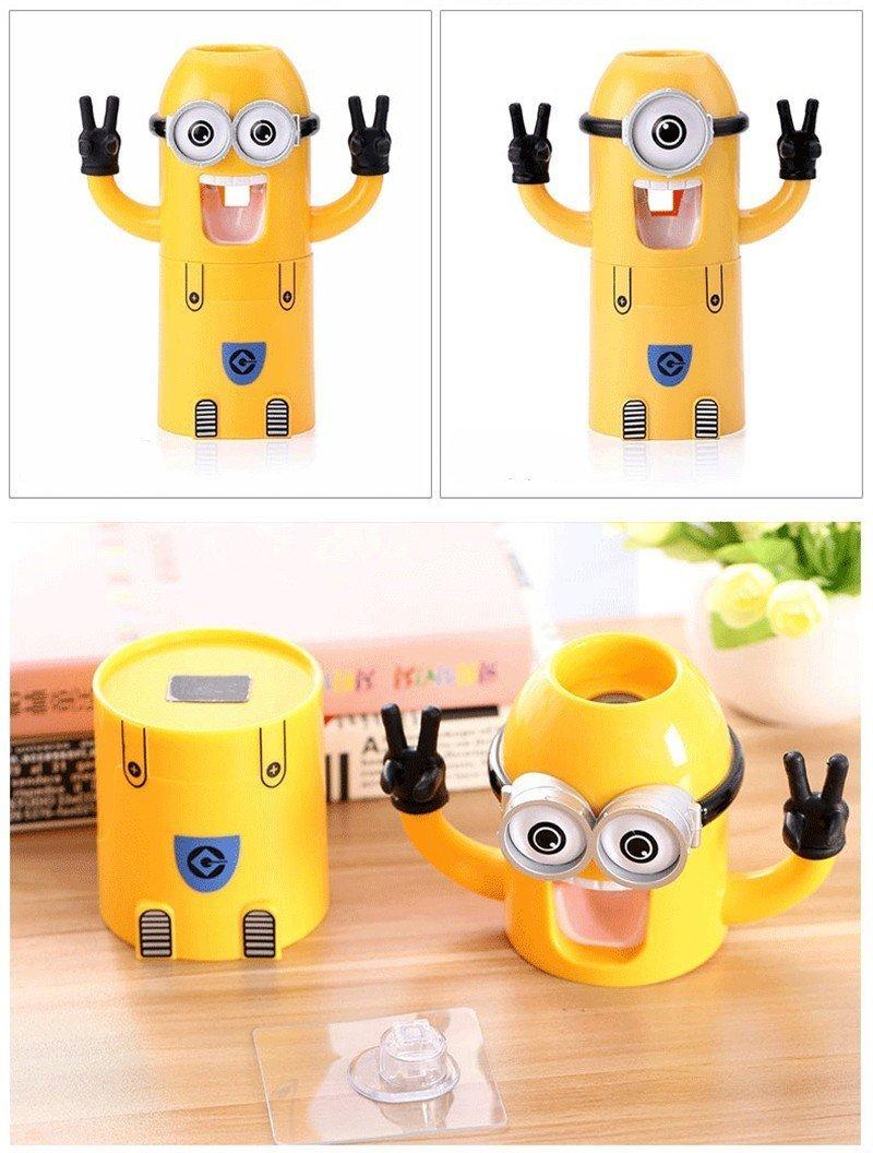 Falove pasta de dientes automático dispensador de baño accesorios Minions dispensador de pasta de dientes niños y cuarto de baño productos de plástico taza: ...