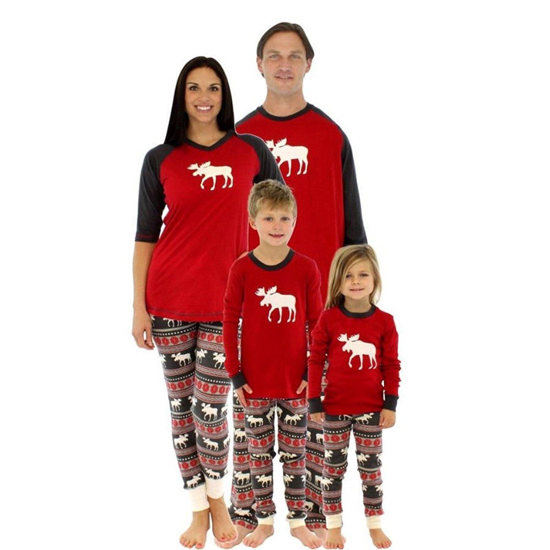 Family Christmas Pajamas Set, Woopower Long Sleeve Matching Striped Sleepwear Adult Kids Xmas Nightwear