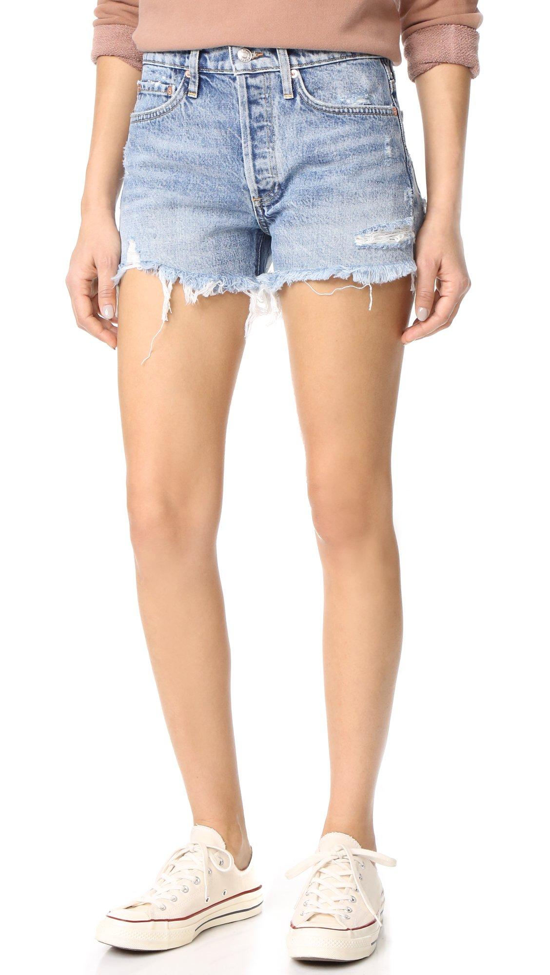 AGOLDE Women's Parker Vintage Loose Fit Cutoff Shorts, Swapmeet, 27