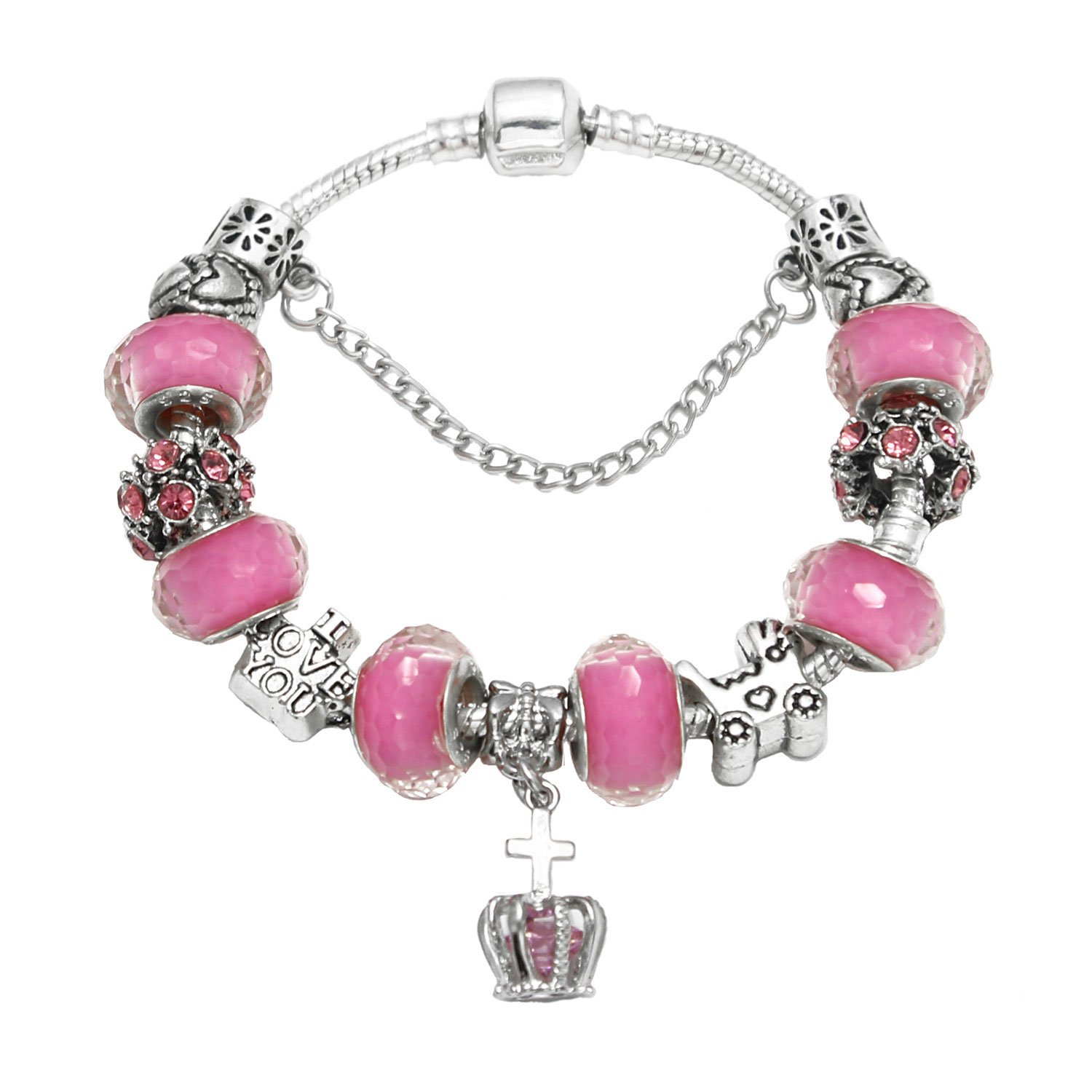 HEWIC I Love You Charm Bracelet Gift Silver Plated Snake Chain DIY Pink Glass Beads Heart Carved Strand Bracelet For Women Girls ZW010