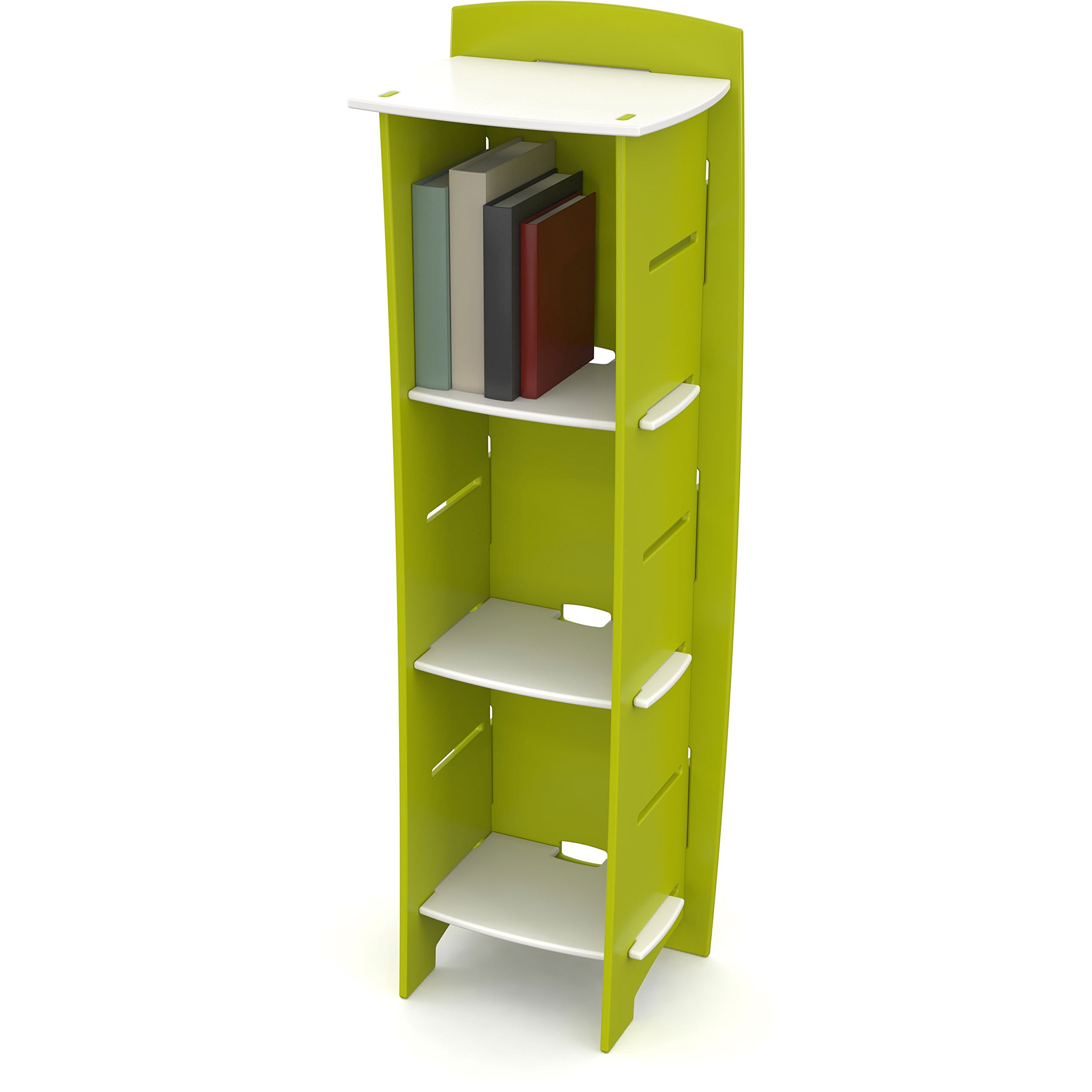 Legaré Kids Furniture Frog Series Collection, No Tools Assembly 3-Shelf Bookcase, Lime Green and White