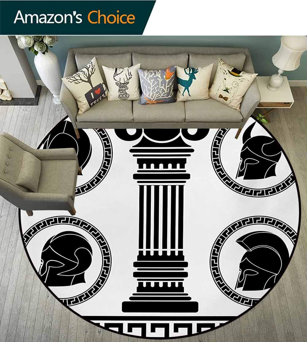 RUGSMAT Toga Party Modern Machine Washable Round Bath Mat,Patterned Circular Frames with Antique Accessories Spartan Classic Costume Non-Slip Soft Floor Mat Home Decor,Round-31 Inch