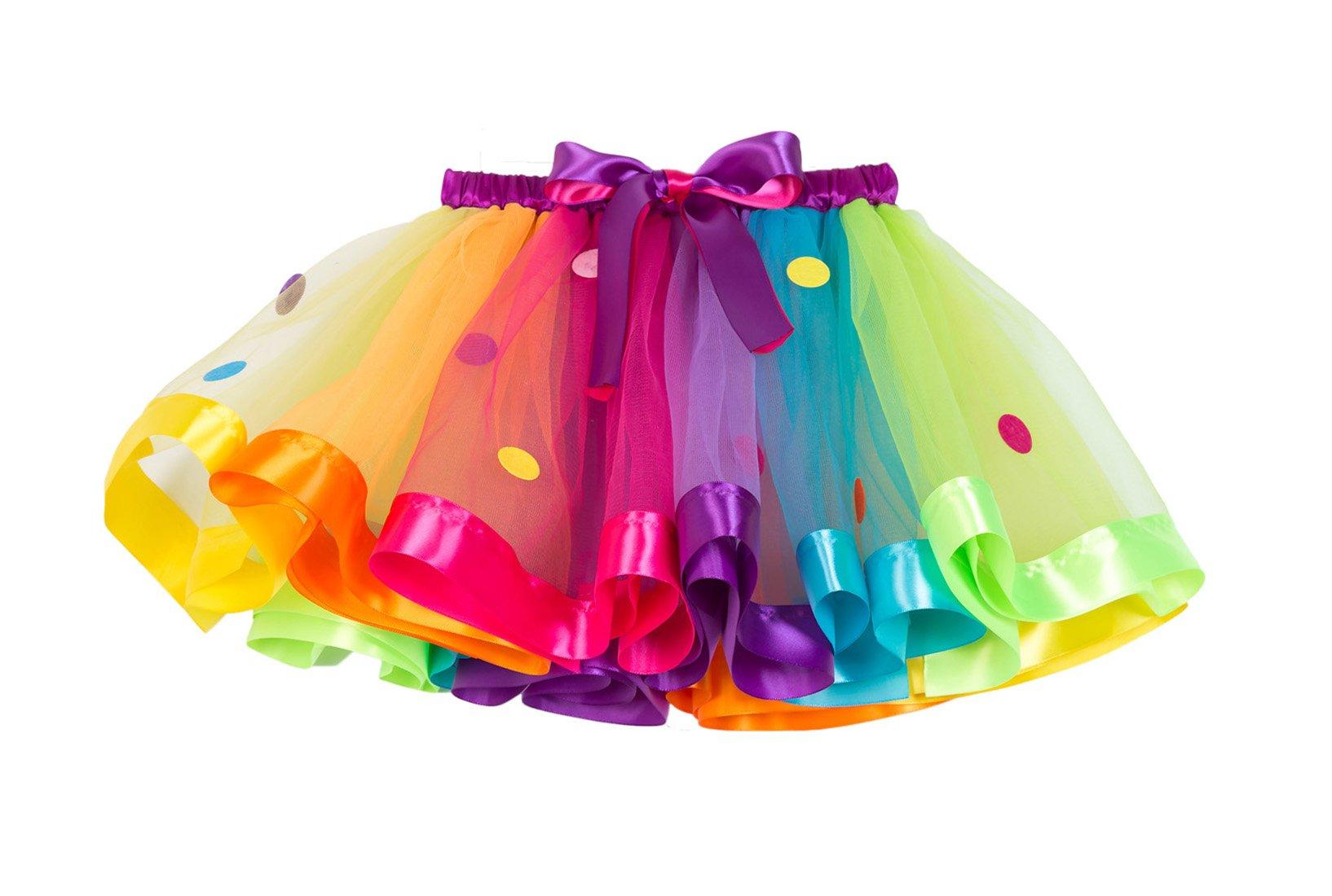New Little Girls Colorful Rainbow Layered Ribbon Tiered Ballet Tutu Skirt (Wafer Rainbow,Medium/4-6 Years)