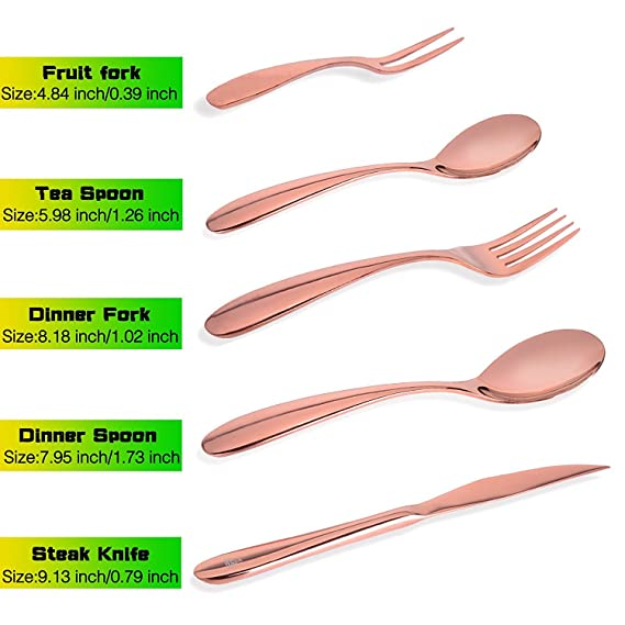 Amazon.com: Rose Gold Silverware Set, Amz Soaring 18/10 Stainless Steel Flatware Cutlery, 20 Piece Set, Service for 4, Gift Box Package include Spoon Fork ...
