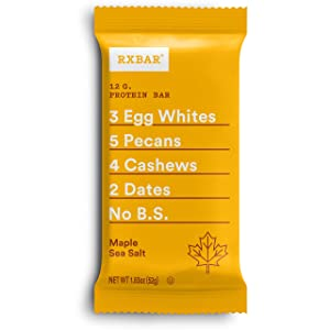 RXBAR, Maple Sea Salt, Protein Bar, 1.83 Ounce (Pack of 12), High Protein Snack, Gluten Free