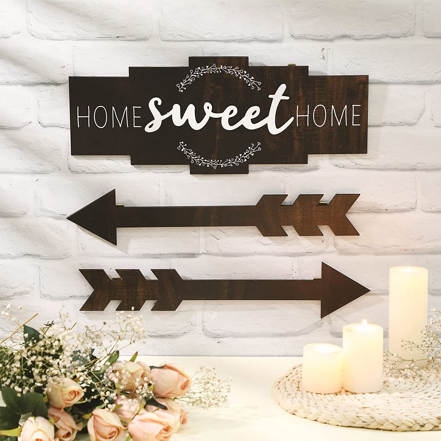 Set of Home Sweet Home Arrow Sign, Rustic Wood Home Wall Decor, Large Farmhouse Arrow Sign Plaque Wall Hanging for Bedroom, Living Room, Party, Wedding Decor (Vintage Color)