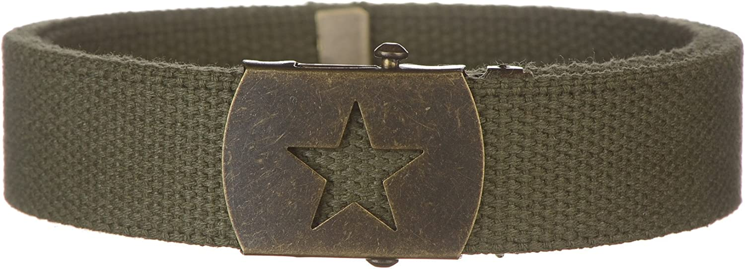 Strait City Trading Mens 1-1//4 wide cotton web belt with army star buckle