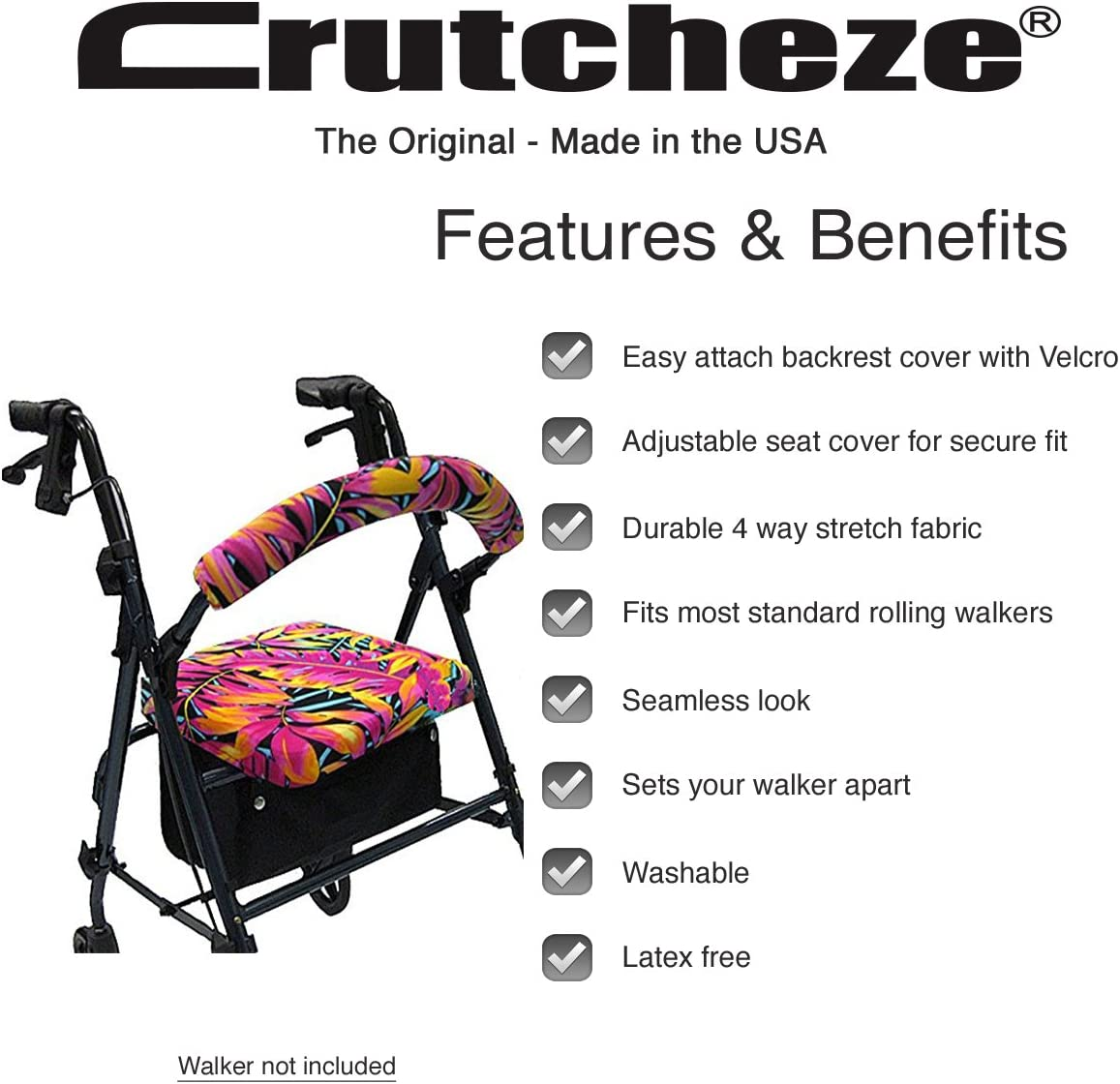 Crutcheze Hawaiian Tropical Leaves Rollator Walker Seat and Backrest Covers Designer Fashion Accessories Made in USA