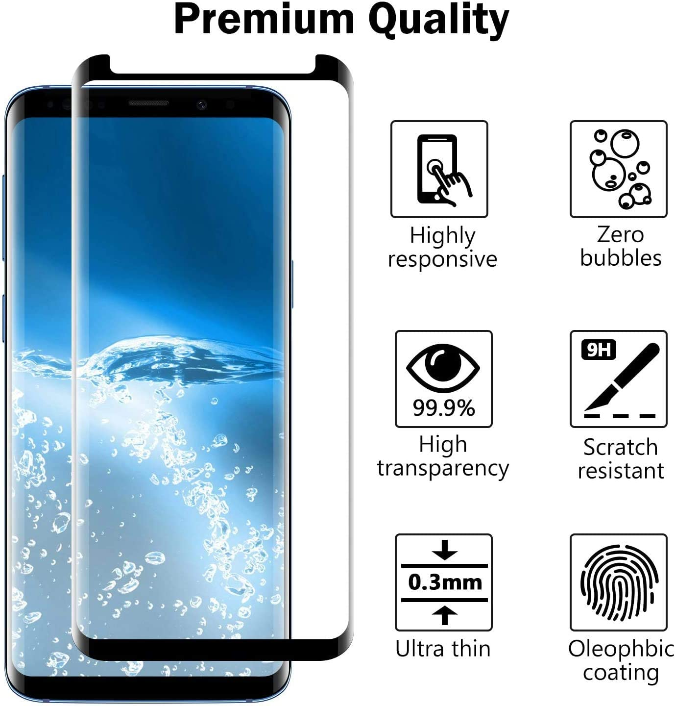 2 Pack 3D Curved Samsung Galaxy S8 S9 Screen Protector,Full Coverage Tempered Glass High Definition Anti-Scratch Tempered Glass Screen Protector Suitable for Galaxy S8 S9