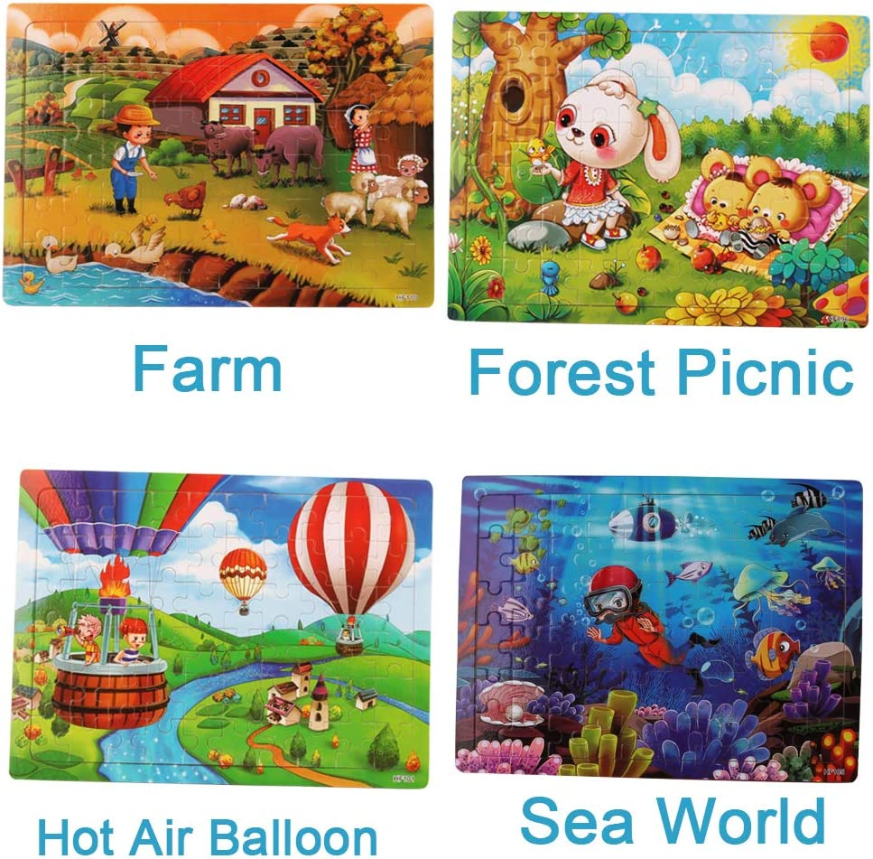Planets Hot Balloon ZesNice 8 Pack Kids Puzzles 60 Piece Wooden Jigsaw Puzzles Toys for 3-8 Boys and Girls Preschool Educational and Fun Themes Dinosaurs Farm Animals