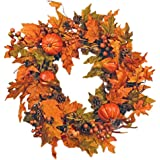 "Festive Fall 26"" Wreath with Pumpkins, Berries, Pine Cones, Gourds and Maple Leaves"