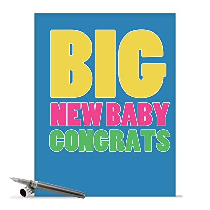large newborn baby congratulations card with envelope big new baby congrats - New Born Baby Card