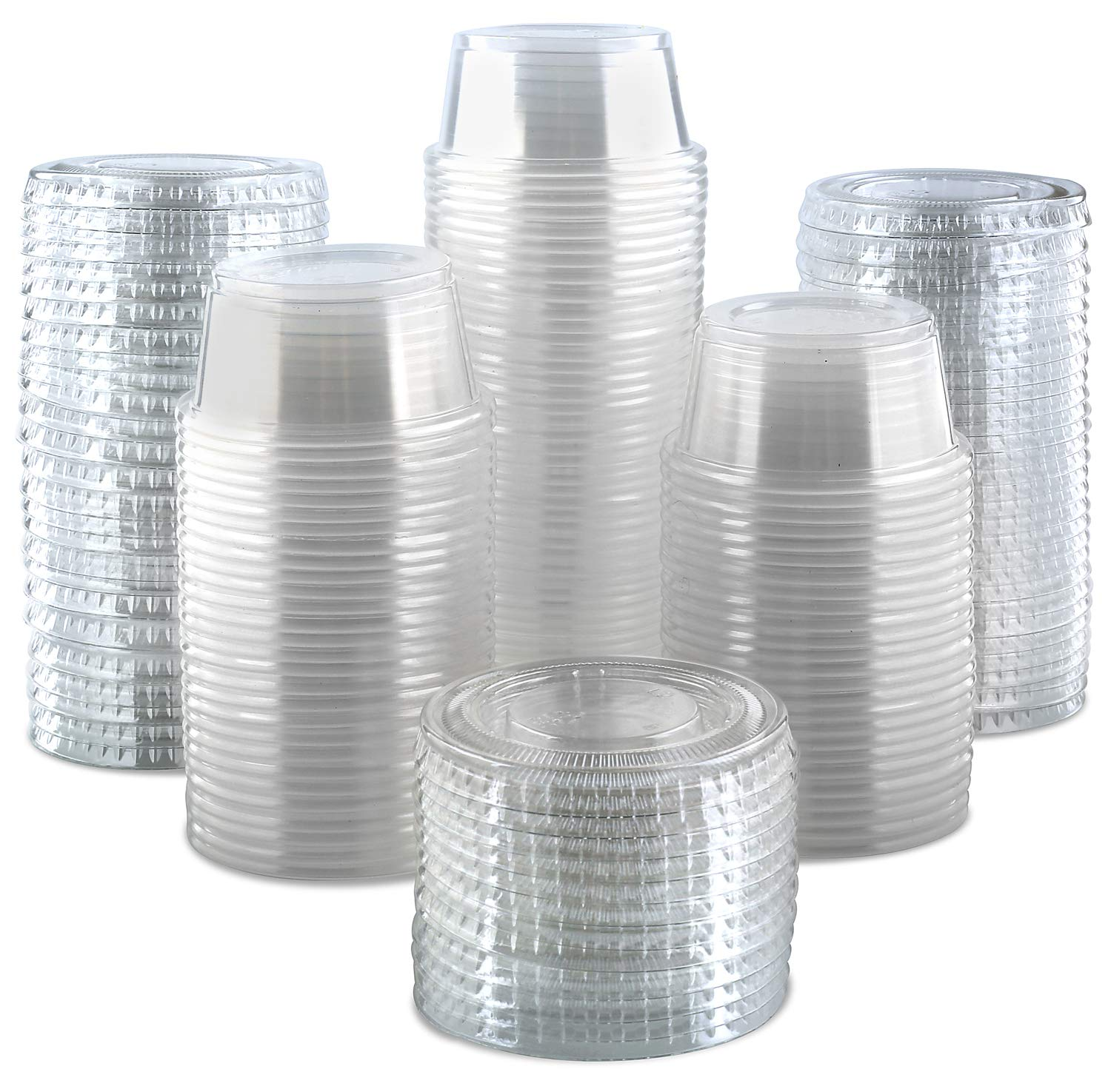 300-Pack Plastic Portion Control Cups with Snap-On Lids 2 oz. | Clear Disposable Small Food Containers | Excellent For Jello Shot, Meal Prep, Salad Dressing, Sushi, Condiments, Medicine, Sauce,Souffle (300, 2 OZ.) by PROMOZE