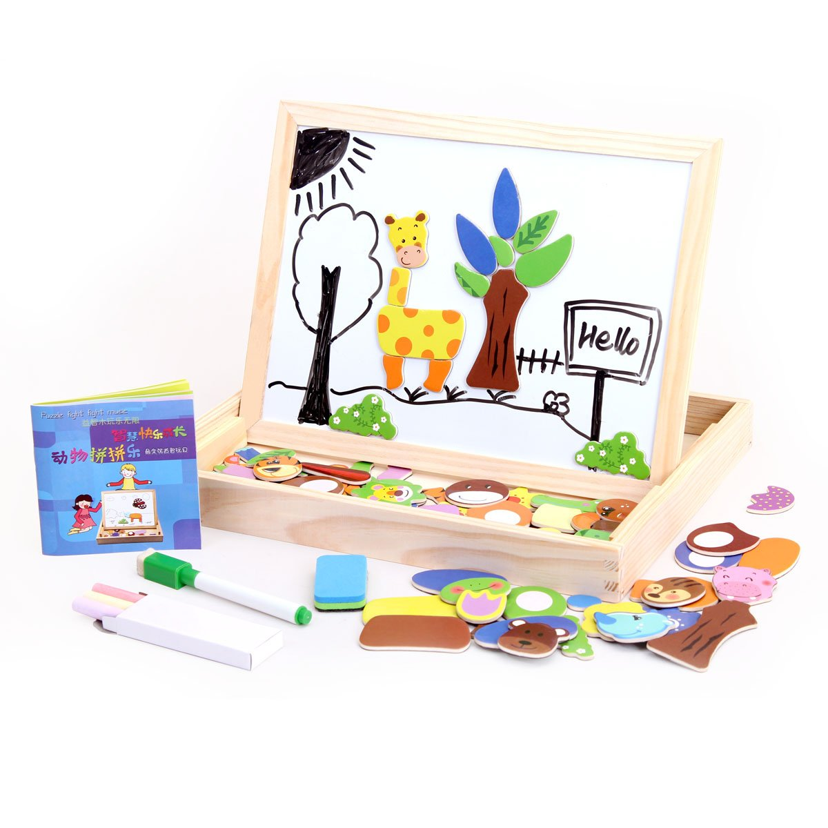 Wondertoys Magnetic Puzzle Art Easel Board Games with Dry Erase Educational Toys for Children