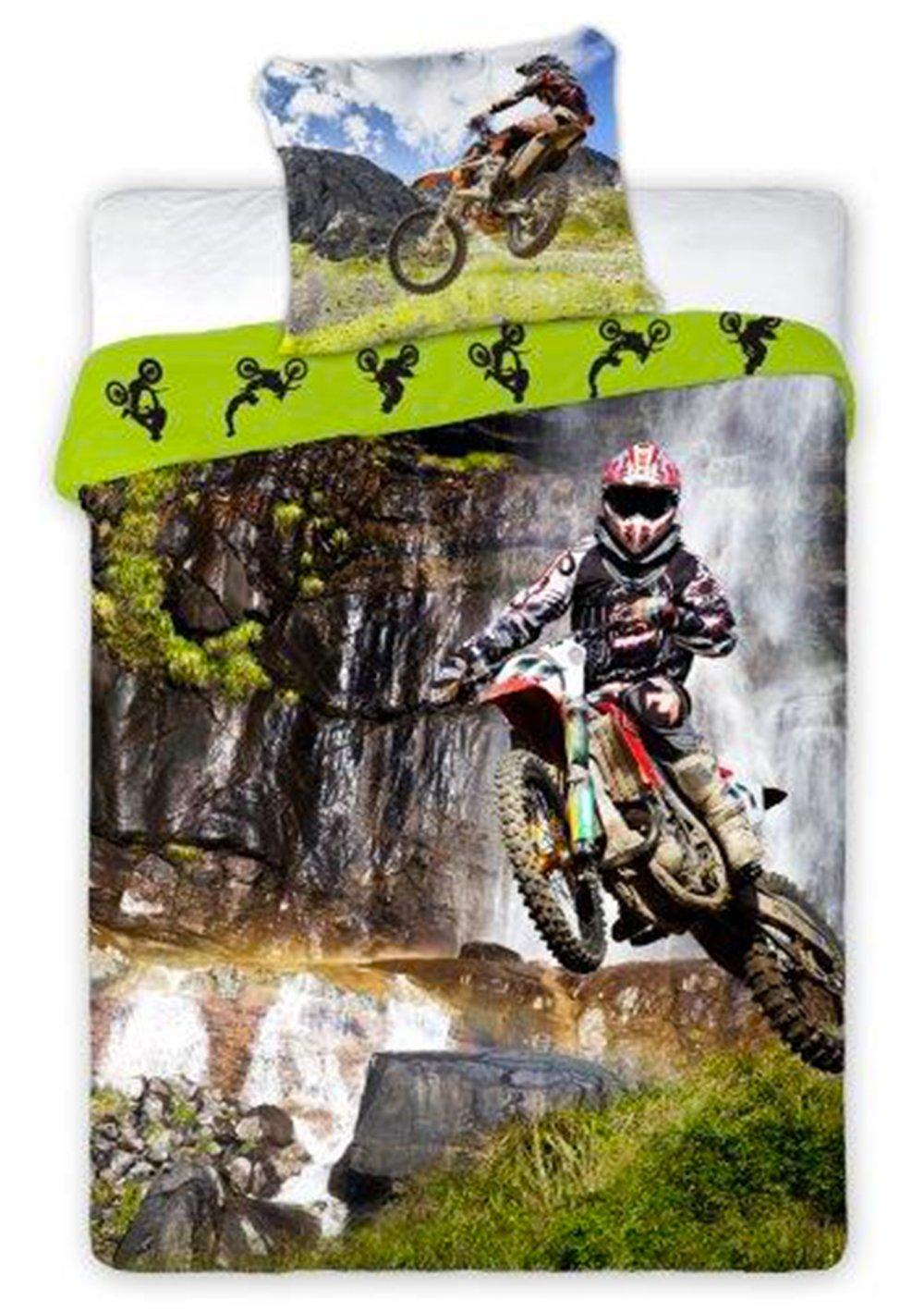 Moto Cross Sport - Parure de Lit - Housse de Couette 140 x 200 cm - Coton