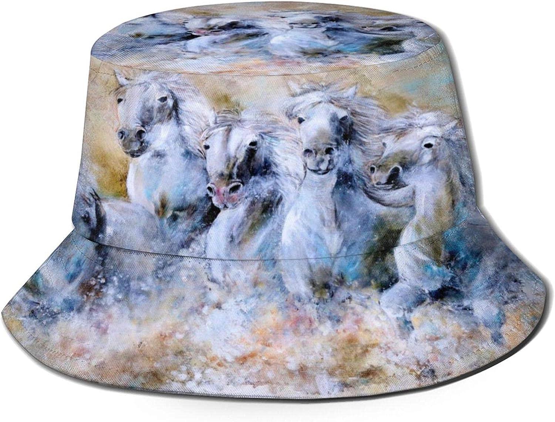 Lawenp Sombrero de Pescador de Pintura de Caballos SunPackable para Viajes de Verano al Aire Libre