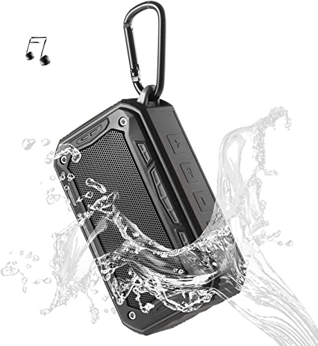 Portable Speaker Bluetooth Wireless Speakers V4.2 IP67 Water Dust Proof 33 ft Bluetooth Range Built-in Power Bank and Mic Waterproof Speaker for Outdoors,Hiking,Running,Shower, Travel,Camping Black
