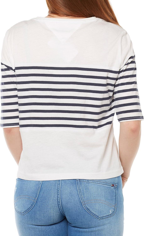 Tommy Jeans Mujer STRIPE SN KNIT S//S 31 Camiseta de tirantes Manga Larga