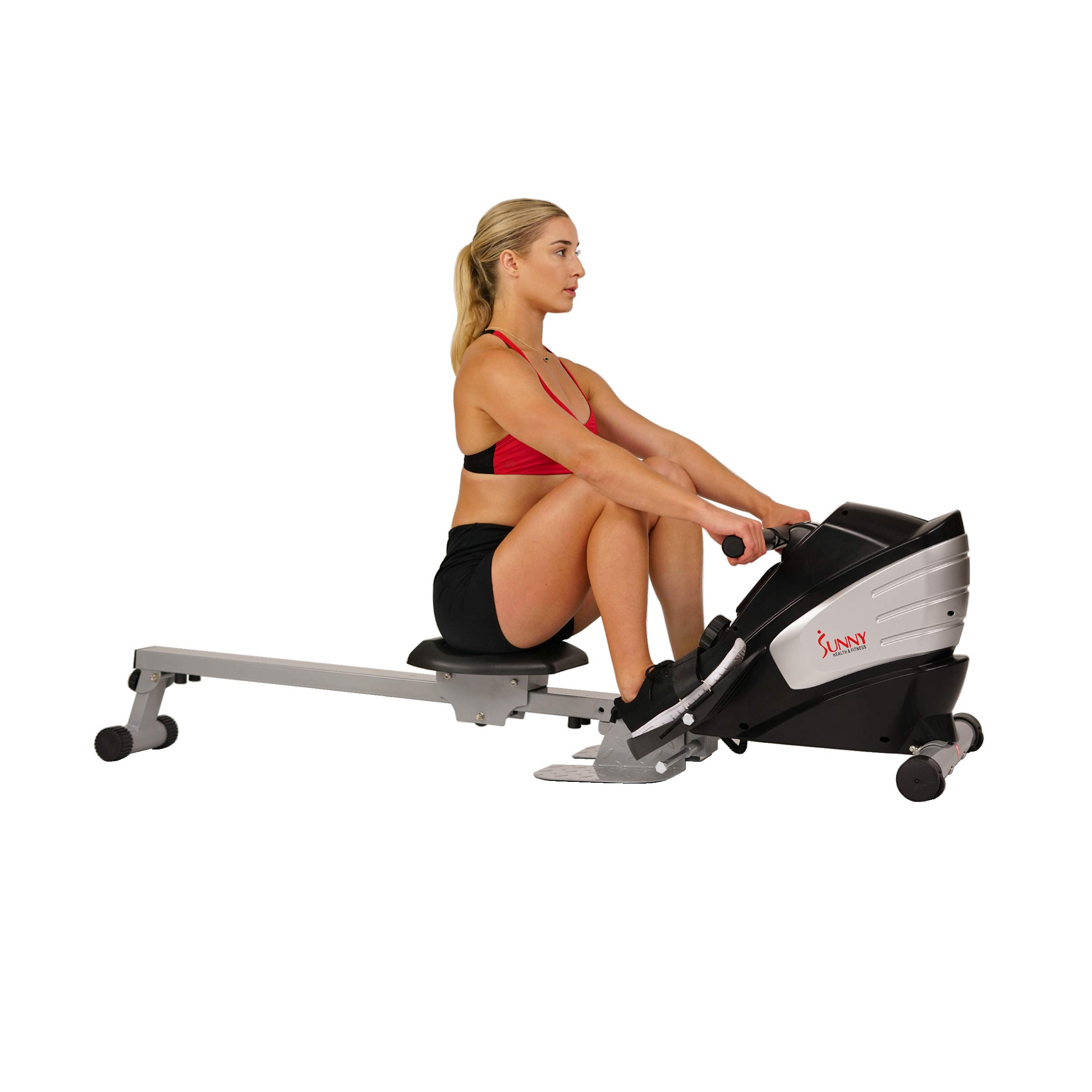 Sunny Health & Fitness Dual Function Magnetic Rowing Machine w/ Digital Monitor, Multi-Exercise Step Plates and Foldable -  SF-RW5622 by Sunny Health & Fitness (Image #2)