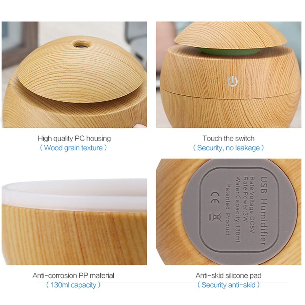 Toogoo USB Aroma Humidifier ESSential Oil Diffuser Ultrasonic Cool Mist Humidifier Air Purifier 7 Color Change LED Night light for Office Home:Light Wood by Toogoo (Image #4)