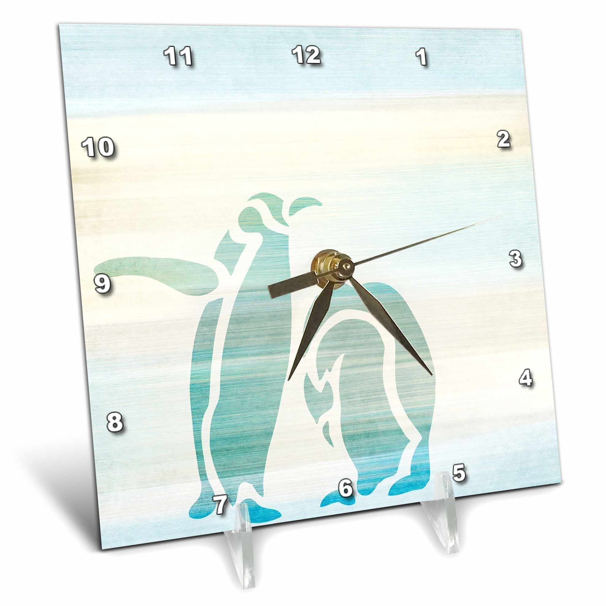3dRose dc_152077_1 Aqua Penguins Abstract Animal Art Desk Clock, 6 by 6-Inch