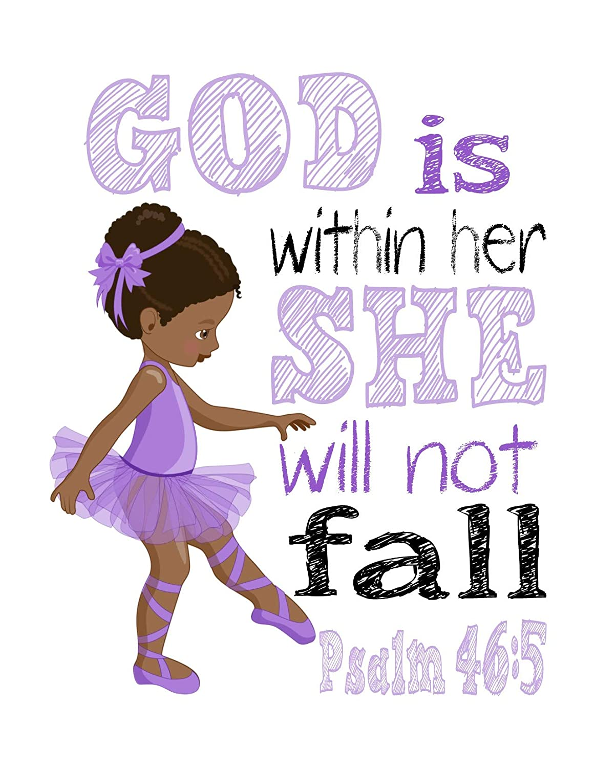 African American Ballerina in Purple Inspirational Nursery Decor Print She will not fall Psalm 46:5