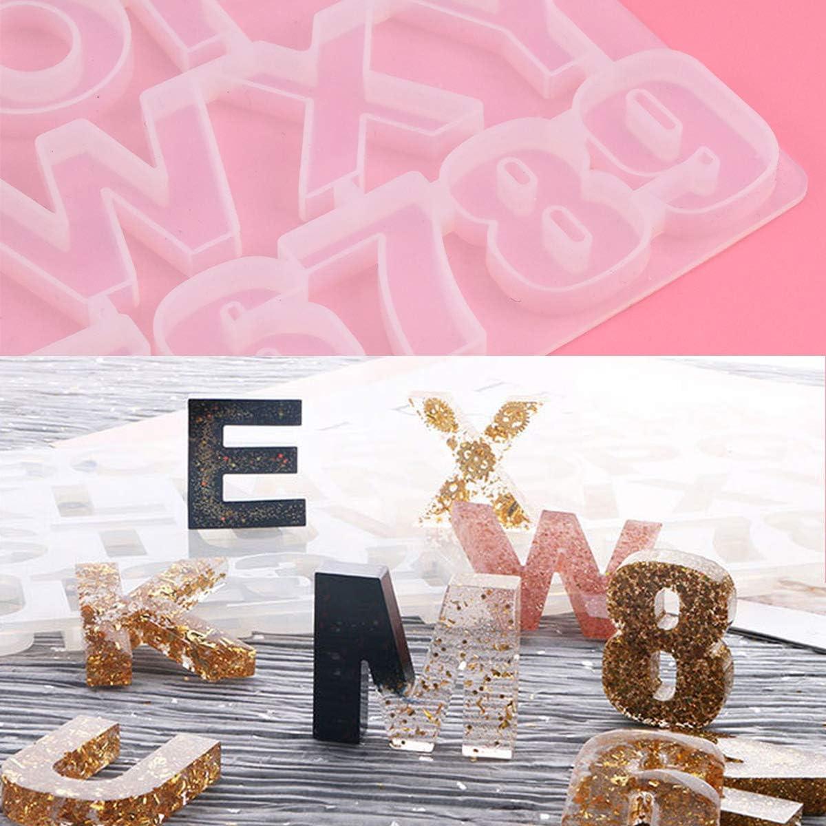 Dokpav 93PCS Alfabeto N/úmeros Molde Silicona Resina para Hacer Joyerias Moldes de Resina para Collar Pendiente Fabricaci/ón de Colgante Diamante Pulsera Creativo Bricolaje
