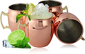 Copper Mule Mugs, Moscow Mule Mugs Set of 4, Mirror Polished Copper Cups with Stainless Steel Inner and Copper-plated Outer for Beer and Cocktail
