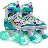 Woolitime Adjustable Roller Skates for Girls and Boys, 4 Size Adjustable for Kids, with All Wheels Light Up