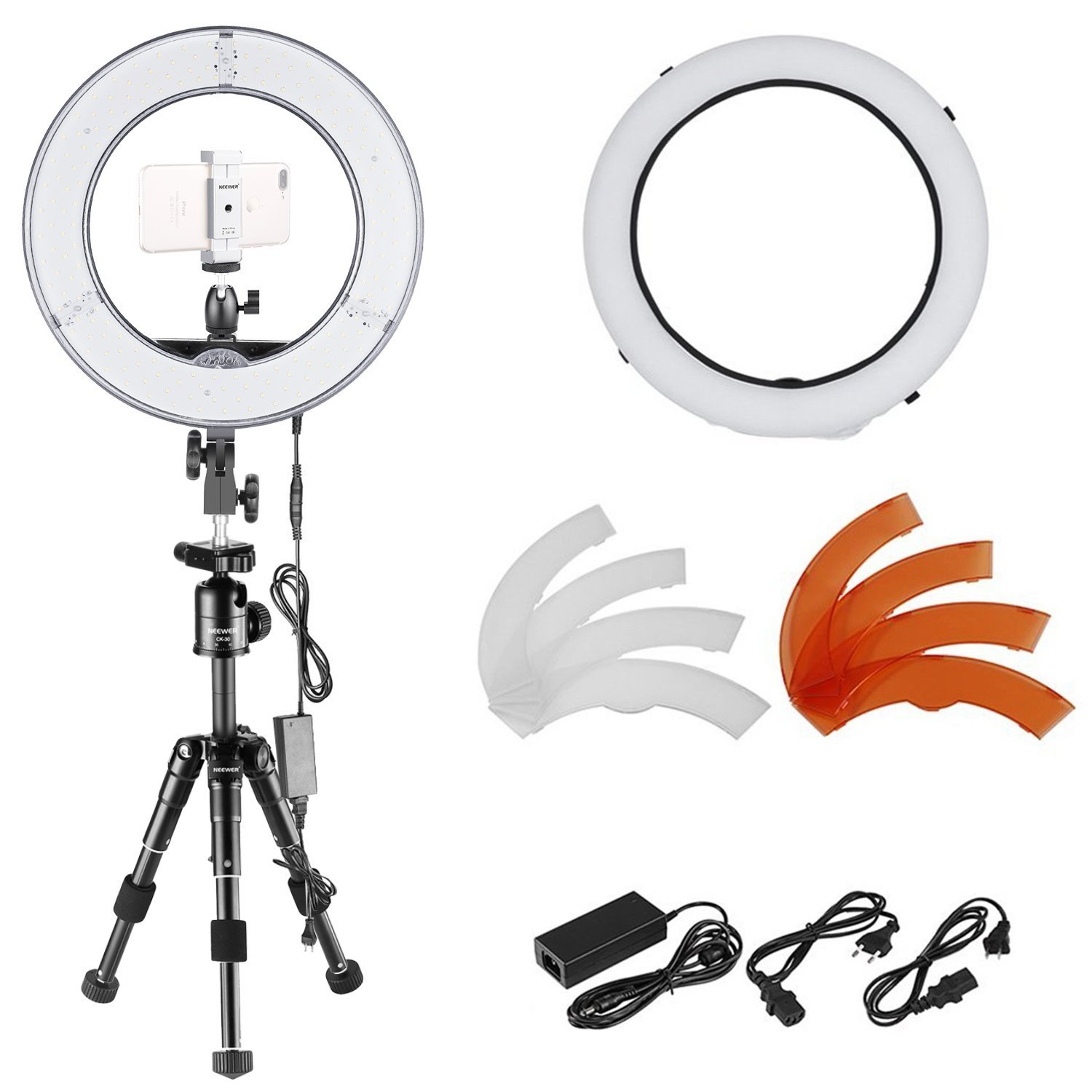 Neewer Ring Light LED 14-inch Dimmable with Tabletop Tripod lighting kit: 36W 180 Pieces LED Ring Video Light,Tripod,Phone Holder,Diffuser for Portrait Product Photography YouTube Video recording by Neewer