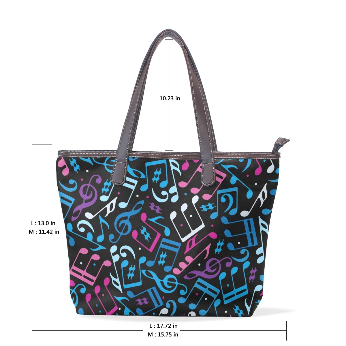 imobaby Womens Colorful Music Note Large Leather Tote Bags Shopping Bag
