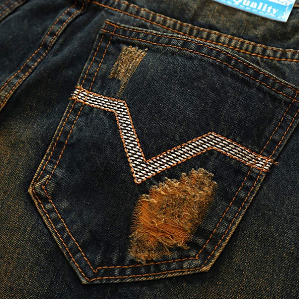 LtrottesJ Mens Vintage Hole Jeans Denim Folds Wash Work Frayed Printed Zipper Basic Pants