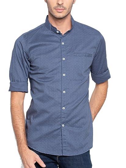 5b31812f206 Nick   Jess Mens Printed Blue Mandarin Collar Linen Slim Fit Shirt  Amazon. in  Clothing   Accessories