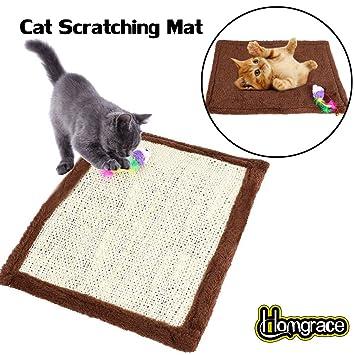 Homgrace Alfombrilla rascadora para gatos, rascador de gato para cama y sofá, 41.5 x 31.5 cm color marrón: Amazon.es: Productos para mascotas