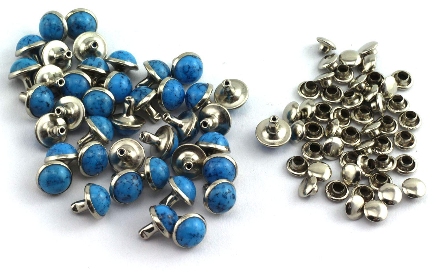 RuiLing 100pcs 12mm Blue Turquoise Rapid Rivet Stud National Style Round Head Leathercraft Decorations Accessory Handmade DIY Crafts for Jewelry Shoes Clothes Bags Garment