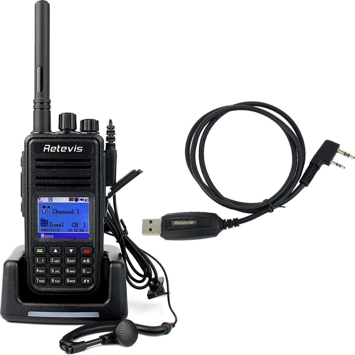 Retevis RT3 DMR UHF Digital Two Way Radio 5W 1000CH 400-480MHz VOX Message Scrambler Ham Amateur Radio(1 Pack) with Programming Cable