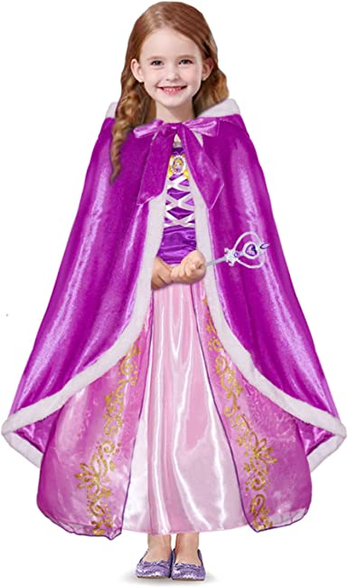 Silver /& White Girls Sequined Sparkly Cape Birthday Party Pink Long Princess Cape Kids Hooded Cloak Crown and Wand Set Blue