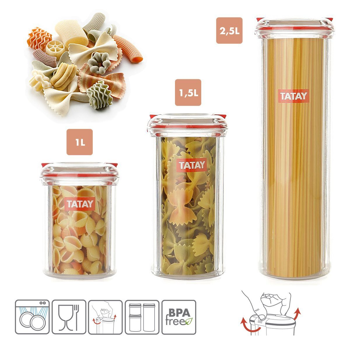 Tatay - Set di 3barattoli da cucina ermetici, in plastica di alta qualità, con chiusura di sicurezza, in 3 formati da 1, 1,5 e 2,5 l