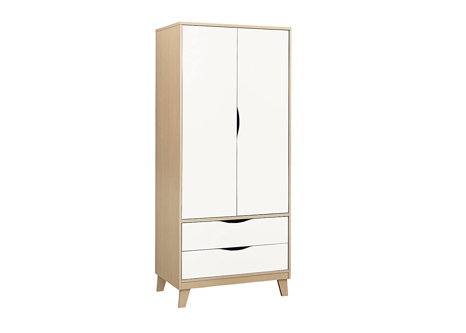 Birlea Kingston 2 Door and 2 Drawer Wardrobe, Wood, Beech and White Birlea Furniture KIN22WDBEW
