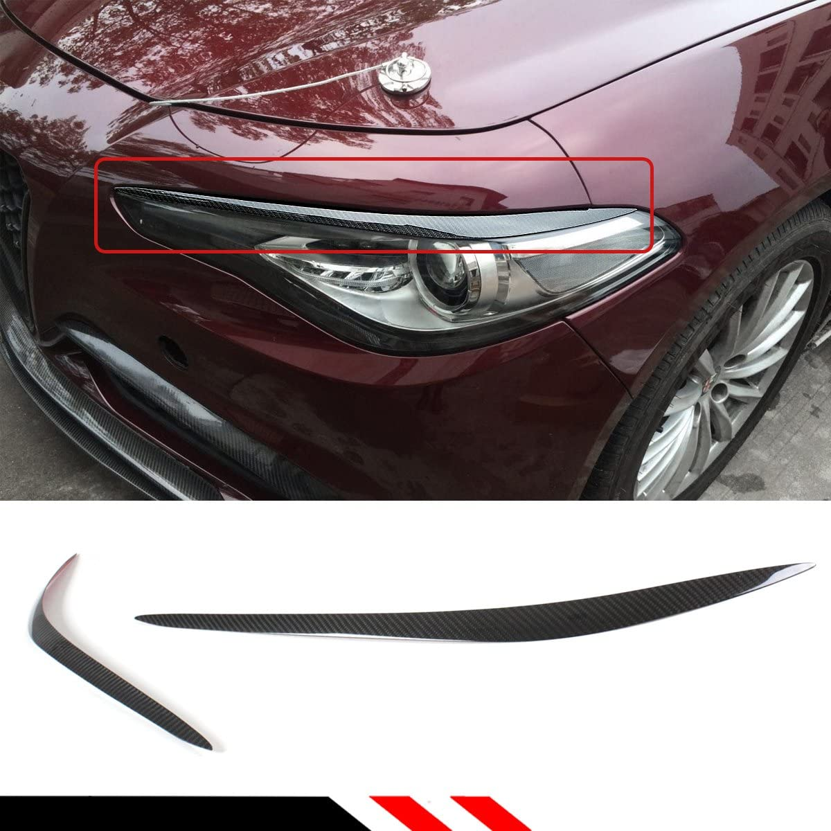 Cuztom Tuning Fits for 2016-2018 Alfa Romeo Giulia Real Carbon Fiber Headlight Eyelid Cover Eyebrow