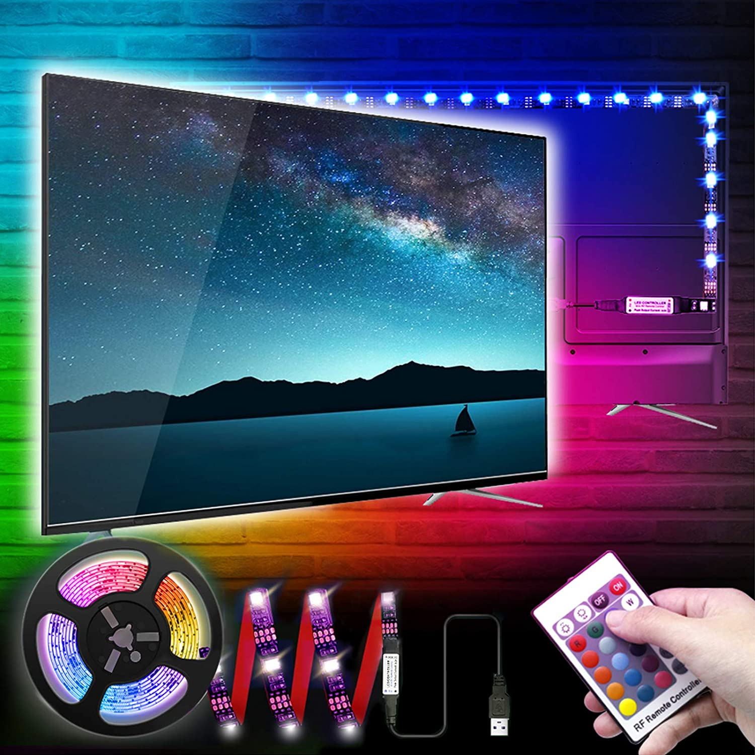 LED TV Backlights, 1M/3.3Ft RGB LED Strip Lights for TV 32-50in, 5V USB Monitor Backlight with Remote 16 Colors for Computer Home Theatre