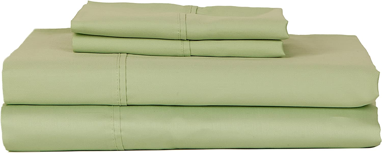 RDM Koncept Chateau De Robernier Collection T620 Solid Sateen Combed Cotton Sheet Set, Queen, Celedon